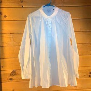 CABI white cotton ALine button front minidress